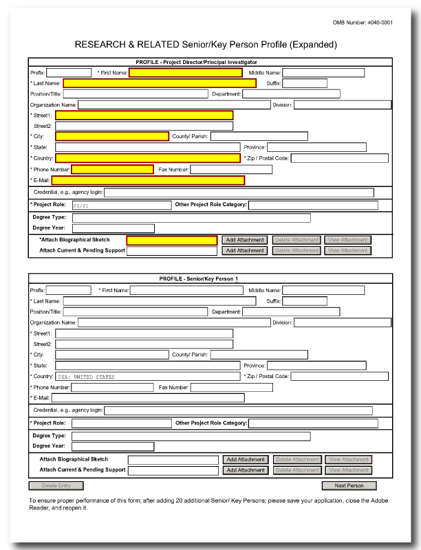 G.240 - R&R Senior/Key Person Profile (Expanded) Form